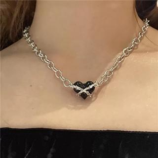 エイチアンドエム(H&M)のハート チェーン ネックレス ブラックハート(ネックレス)