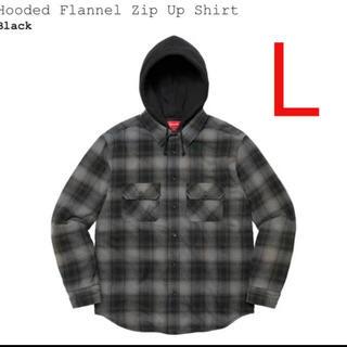 Supreme - Supreme Hooded Flannel Zip Up Shirt L 黒