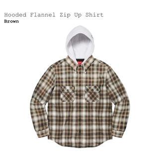 Supreme - 【M】Supreme Hooded Flannel Zip Up Shirt