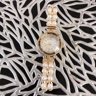 未使用【電池切れ】パール×ラインストーンブレンスレット型アナログウォッチ 腕時計