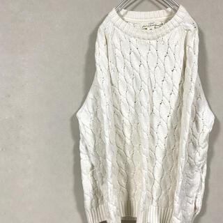 エイチアンドエム(H&M)のニット セーター ケーブル編み ホワイト 白 長袖 ウール(ニット/セーター)
