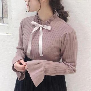 着るだけで可愛いリボンニット♡ハイネックフリルリボン×袖フレアのガーリーデザイン(ニット/セーター)