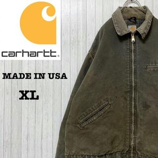 カーハート(carhartt)のカーハート ダックジャケット USA製 モスグリーン ビッグサイズ 革ロゴ XL(ブルゾン)
