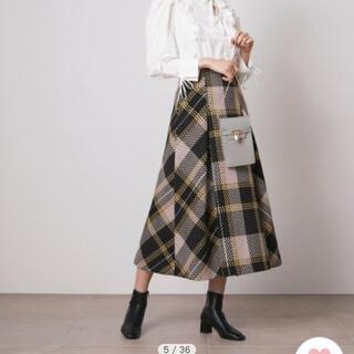 snidel - snidel ロービングチェックフレアスカート BEG/0サイズ