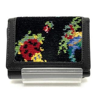 フェイラー(FEILER)のフェイラー 3つ折り財布 - 黒×マルチ 花柄(財布)