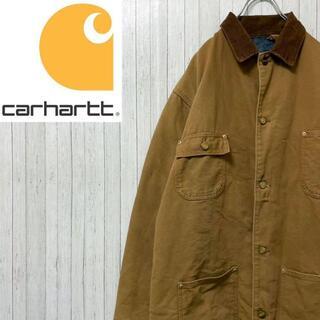 カーハート(carhartt)のカーハート ダックジャケット カバーオール ブラウン ビッグサイズ コーデュロイ(ブルゾン)