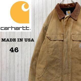 カーハート(carhartt)のカーハート ダックジャケット USA製 ブラウン 中綿 キルティング 46(ブルゾン)