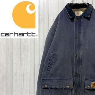 カーハート(carhartt)のカーハート ダックジャケット ネイビー 肉厚 襟コーデュロイ ビッグサイズ L(ブルゾン)