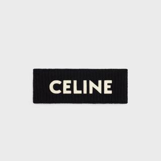 セリーヌ(celine)の【人気celine ロゴ】セリーヌ ヘアバンド ブラック 新品未使用タグ付き(ニット帽/ビーニー)