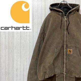 カーハート(carhartt)のカーハート ダックジャケット アクティブパーカー ダークブラウン 中綿 肉厚 L(ブルゾン)