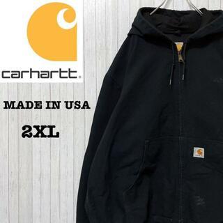 カーハート(carhartt)のカーハート ダックジャケット アクティブパーカー USA製 企業刺繍 黒 2XL(ブルゾン)