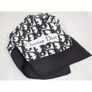 Christian Dior - クリスチャンディオール トロッター柄 シルク ブラック スカーフ