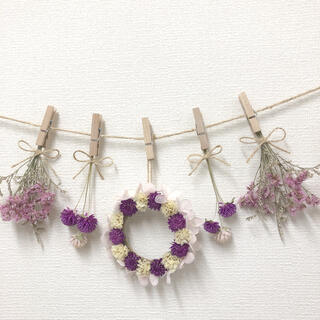 千日紅とピンク紫陽花リースのガーランド♡ドライフラワーガーランド(ドライフラワー)