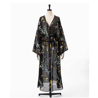 mame - Mame FLORAL LAME PRINT ONEPIECE-BLACK