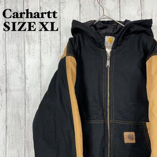 カーハート(carhartt)のカーハートダックアクティブジャケットキャメル黒ブラック古着オーバーサイズXL男女(ブルゾン)