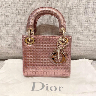 Christian Dior - Dior ディオール ミニ レディディオール メタリックピンク カナージュ