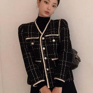 ディーホリック(dholic)の新作【韓国ファッション】ジャケット ツイード ボタン dholic ZARA(ノーカラージャケット)