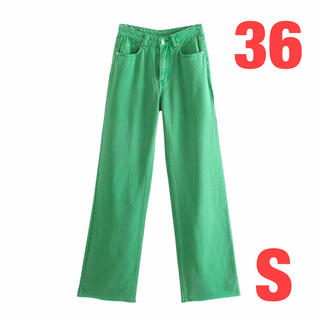 人気 グリーン パンツ デニム ワイド 韓国 秋冬 プチプラ 安い ZARA 緑