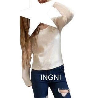 イング(INGNI)のINGNI★肩フリル リブ素材カットソー 薄手ニット(ニット/セーター)