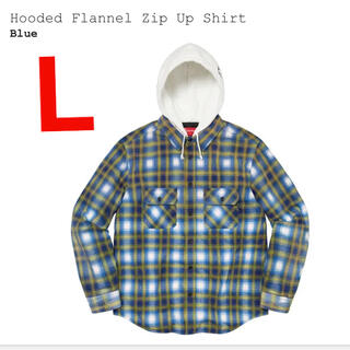 Supreme - 青L supreme Hooded Flannel Zip Up Shirt