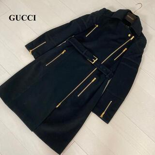 Gucci - GUCCI グッチ ウールカシミヤ ロングコート 36 黒 ジップアップ