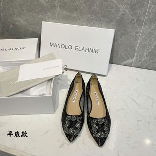 マノロブラニク(MANOLO BLAHNIK)のMANOLO BLAHNIK  Hangishi  LACE フラット 36(ハイヒール/パンプス)