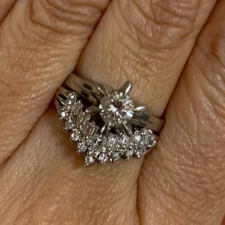 天然ダイヤモンド立爪リング0.525ct&天然ダイヤモンドV字リング0.40ct