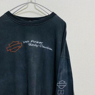 ハーレーダビッドソン(Harley Davidson)の一点物 00年代 ハーレーダビッドソン 刺繍ロゴ ビッグサイズ ロンT(Tシャツ/カットソー(七分/長袖))