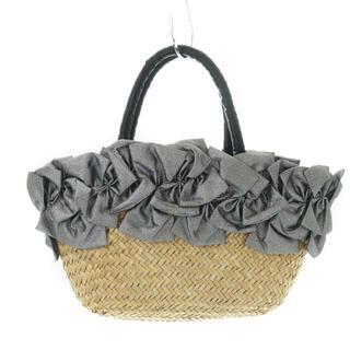 ラドロー(LUDLOW)のラドロー リボン付き かごバッグ バスケット ハンドバッグ 籐かご ベージュ(かごバッグ/ストローバッグ)
