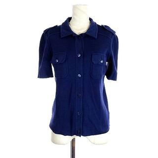 プラダ(PRADA)のプラダ PRADA ニット ブラウス ポロシャツ 半袖 コットン 42 XS 紺(シャツ/ブラウス(半袖/袖なし))