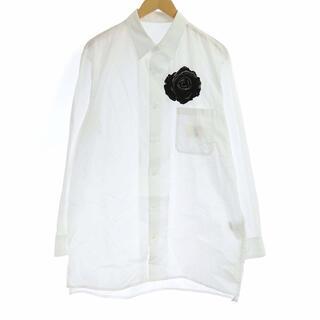 Yohji Yamamoto - ヨウジヤマモト B バラ刺繍 長袖 シャツ ロング 3 L 白 ホワイト /KH