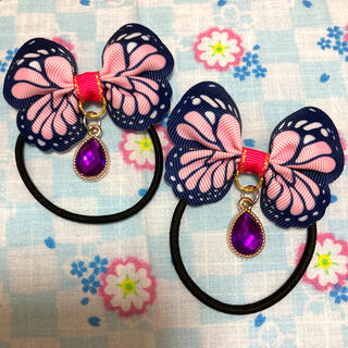 143 ピンク 蝶 和柄 ヘアゴム  紫 ドロップパーツ付き キュートセット