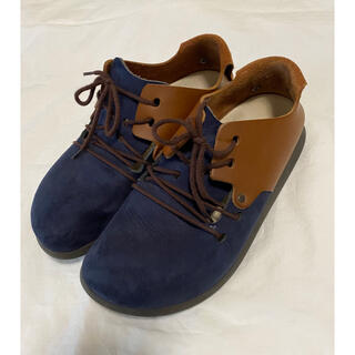 ビルケンシュトック(BIRKENSTOCK)の希少 レア ビルケンシュトック モンタナ 38 ネイビー ブラウン(ローファー/革靴)