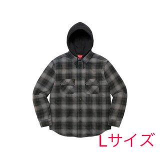 Supreme - Lサイズ hooded flannel zip up shirt black