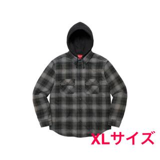 Supreme - XLサイズ hooded flannel zip up shirt black