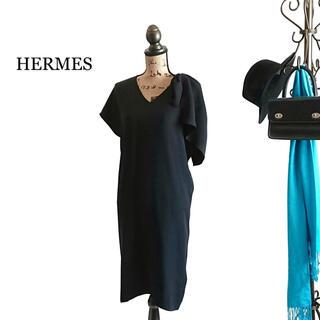 Hermes - HERMES エルメス ワンピース ブラック シルク ドレス