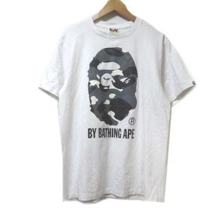 アベイシングエイプ(A BATHING APE)のアベイシングエイプ Tシャツ カットソー 半袖 ロゴ カモフラ プリント 白 M(Tシャツ/カットソー(七分/長袖))