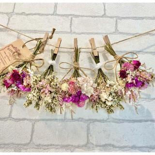 ドライフラワー スワッグ ガーランド❁482 ピンク薔薇 スターチス白 花束