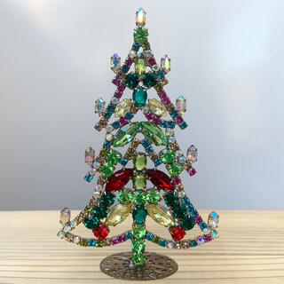 小型/チェコガラス/クリスマスツリー/カラフル×オーロラ/ラインストーン