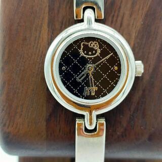 サンリオ - ハローキティ 美品 稼働品 クォーツ HELLO KITTY ブラック 腕時計