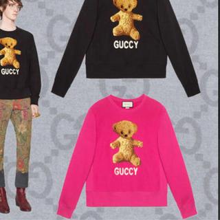 グッチ(Gucci)の【超美品】GUCCI フロントテディベアスウェットトレーナー ピンク(トレーナー/スウェット)