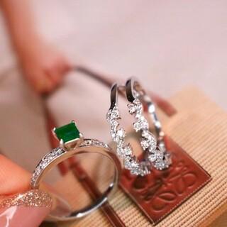 天然ダイヤモンド付きエメラルドリング2点セットk18