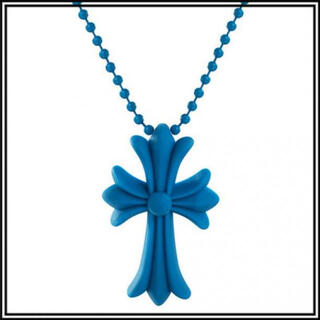 クロス ラバーネックレス 十字架 シリコン ユニセックス ブルー 35A F