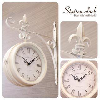 壁掛時計 両面時計 ステーションクロック ボースサイドL ホワイト