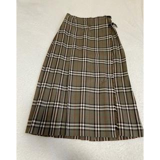 バーバリー(BURBERRY)のBurberrys チェックロングスカート ラップスカート 牛革ベルト(ロングスカート)
