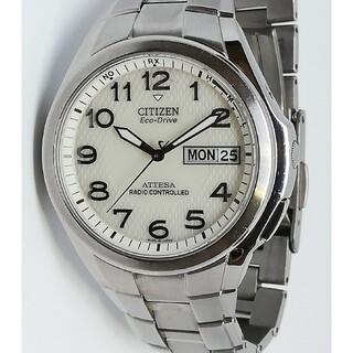 シチズン(CITIZEN)のシチズン アテッサ 電波ソーラー 曜日表示 軽量チタン オートデイト H100(腕時計(アナログ))