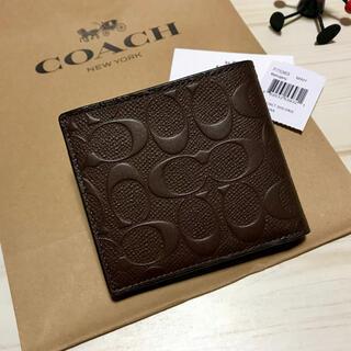 コーチ(COACH)の新品 COACH コーチ 折り財布 エンボス ブラウン マホガニー 茶色(折り財布)
