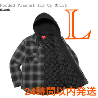 Supreme - Hooded Flannel Zip Up Shirt black L サイズ
