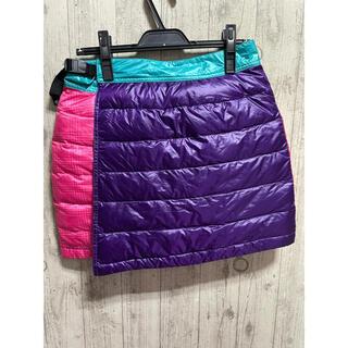 コロンビア(Columbia)の新品 コロンビア 山ガール 登山 ダウン フェザー スカート  ピンク Lサイズ(登山用品)