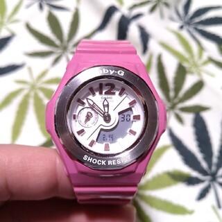 ベビージー(Baby-G)のCASIO Baby-G bga-142 ジーショック ピンク×ホワイト(腕時計)